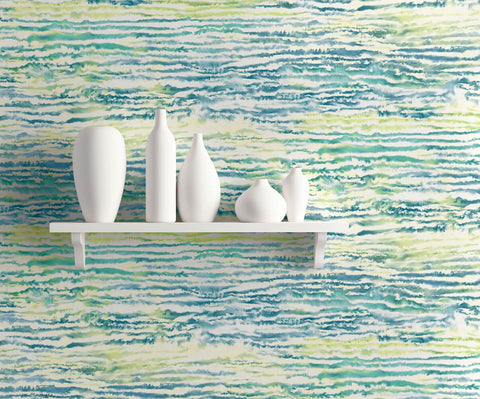 Watercolor Waves Wallpaper in Deep Sea and Spring Green from the Living With Art Collection by Seabrook Wallcoverings