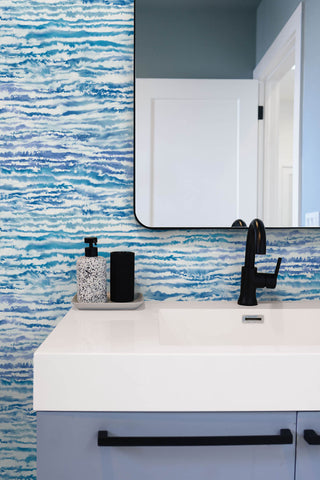 Watercolor Waves Wallpaper in French Navy and Aqua from the Living With Art Collection by Seabrook Wallcoverings