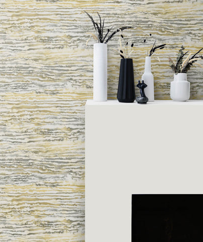 Watercolor Waves Wallpaper in Golden Dusk from the Living With Art Collection by Seabrook Wallcoverings