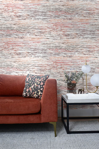 Watercolor Waves Wallpaper in Smoked Peach from the Living With Art Collection by Seabrook Wallcoverings