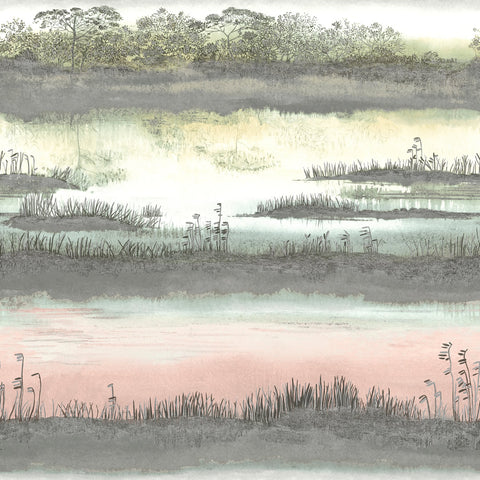 Sample Watercolor Wetlands Wallpaper in Blush Pink by Walls Republic