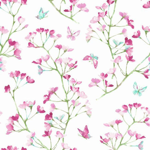 Watercolor Branch Wallpaper in Magenta and Green from the A Perfect World Collection by York Wallcoverings