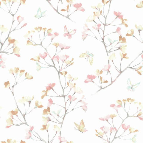 Watercolor Branch Wallpaper in Peach and Aqua from the A Perfect World Collection by York Wallcoverings