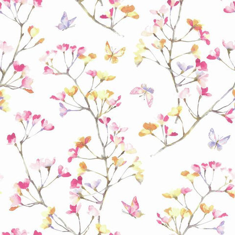 Watercolor Branch Wallpaper in Pink and Orange from the A Perfect World Collection by York Wallcoverings