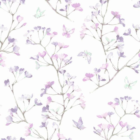 Watercolor Branch Wallpaper in Purple from the A Perfect World Collection by York Wallcoverings