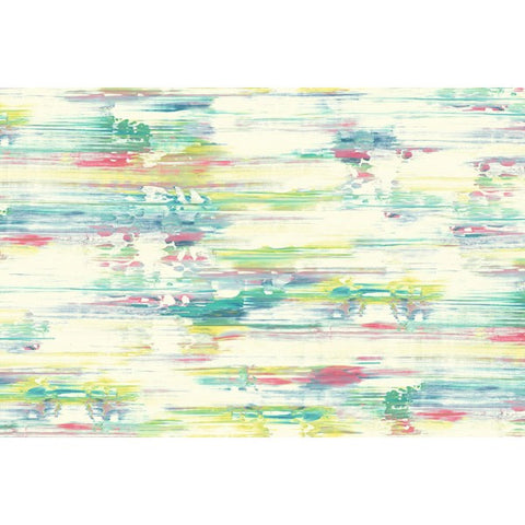 Watercolor Brushstrokes Wall Mural in Green, Pink, and Yellow from the L'Atelier de Paris collection by Seabrook