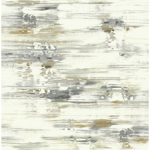 Watercolor Brushstrokes Wallpaper in Browns, Greys and Gold from the L'Atelier de Paris collection by Seabrook