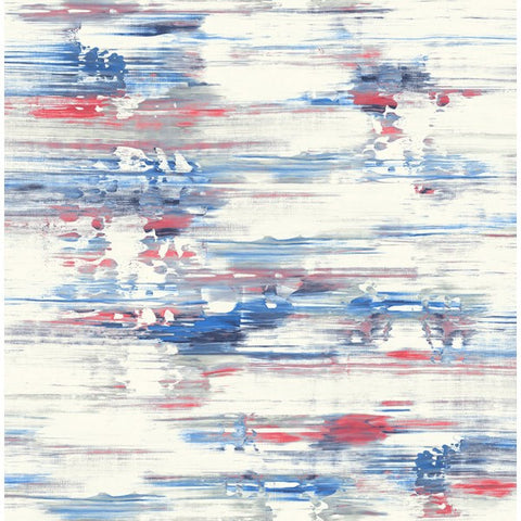 Watercolor Brushstrokes Wallpaper in Reds and Blues from the L'Atelier de Paris collection by Seabrook
