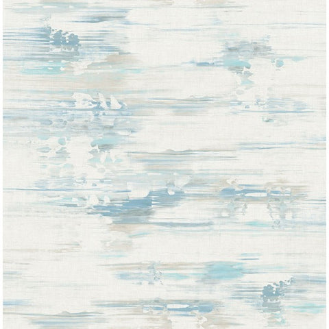 Watercolor Brushstrokes Wallpaper in Soft Blue and Greys from the L'Atelier de Paris collection by Seabrook