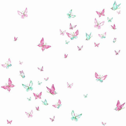 Watercolor Butterflies Wallpaper in Magenta and Green from the A Perfect World Collection by York Wallcoverings
