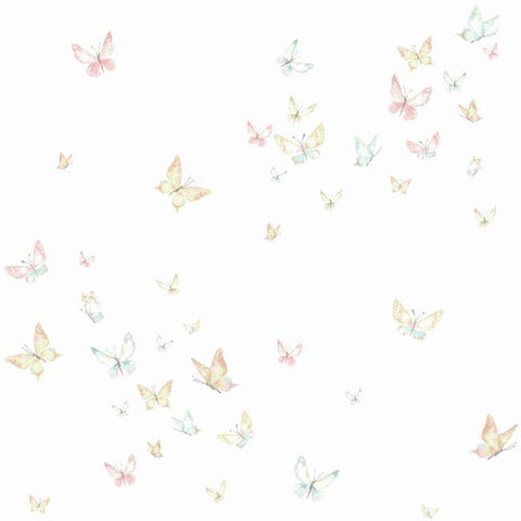 Watercolor Butterflies Wallpaper in Peach and Aqua from the A Perfect World Collection by York Wallcoverings