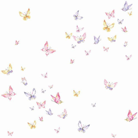 Watercolor Butterflies Wallpaper in Pink and Orange from the A Perfect World Collection by York Wallcoverings