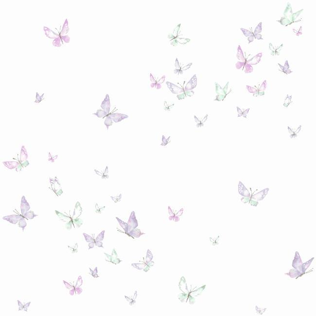 Watercolor Butterflies Wallpaper in Purple from the A Perfect World Collection by York Wallcoverings