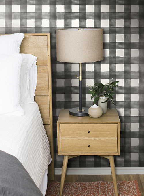 Watercolor check wallpaper in soft pink from the magnolia - Joanna gaines bedding collection ...
