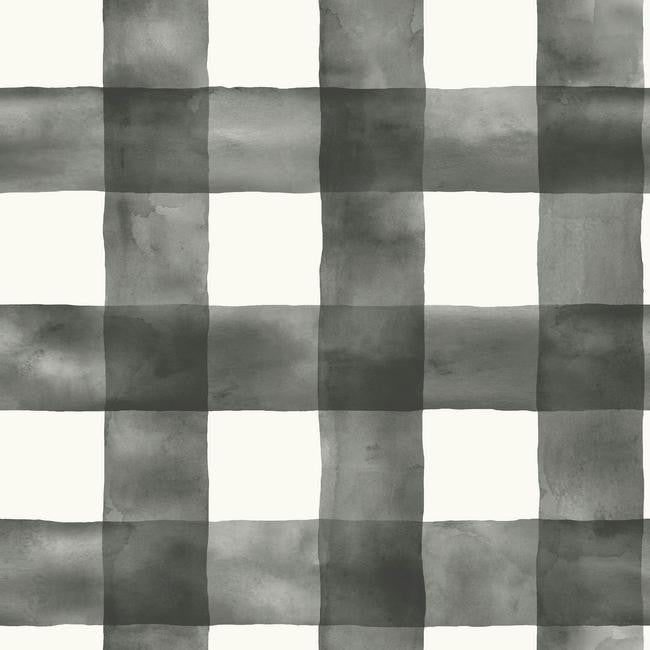 Watercolor Check Wallpaper In Black And White From The