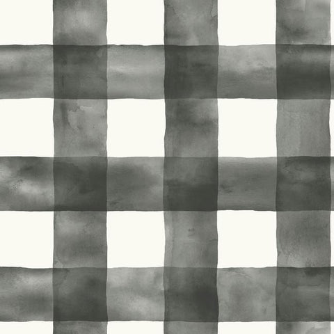Watercolor Check Wallpaper in Black and White from the Magnolia Home Collection by Joanna Gaines for York Wallcoverings