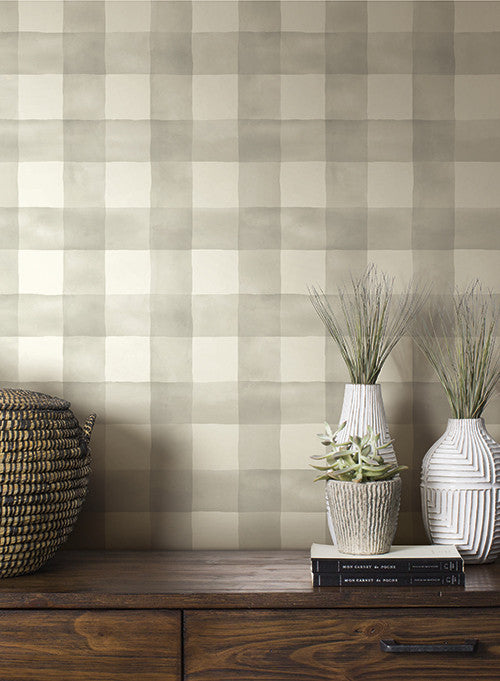 Watercolor check wallpaper in soft grey from the magnolia for Home wallpaper collection