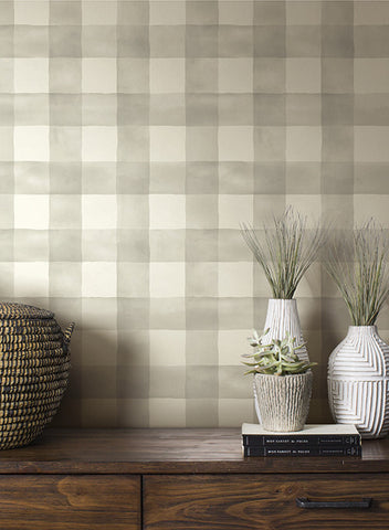 Watercolor Check Wallpaper in Soft Grey from the Magnolia Home Collection by Joanna Gaines for York Wallcoverings