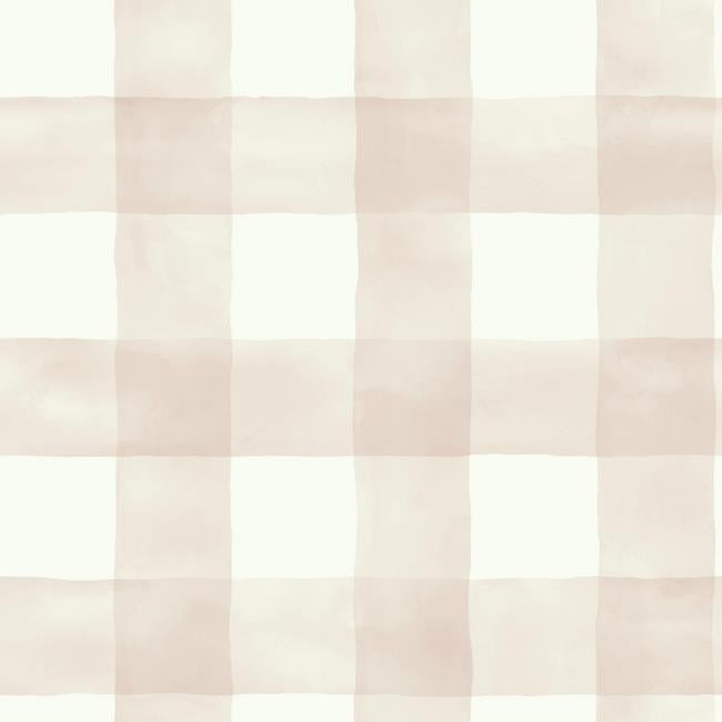 Watercolor Check Wallpaper In Soft Pink From The Magnolia Home Collection By Joanna Gaines