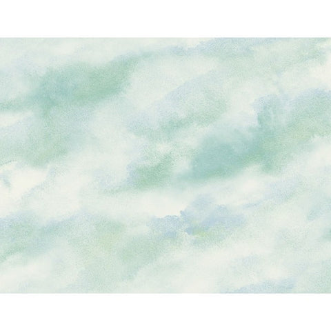 Watercolor Clouds Wallpaper in Soft Blues and Pale Green from the L'Atelier de Paris collection by Seabrook