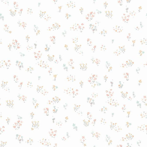 Watercolor Floral Bouquet Wallpaper in Peach and Aqua from the A Perfect World Collection by York Wallcoverings