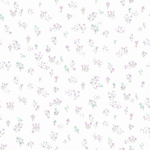 Watercolor Floral Bouquet Wallpaper in Purple from the A Perfect World Collection by York Wallcoverings