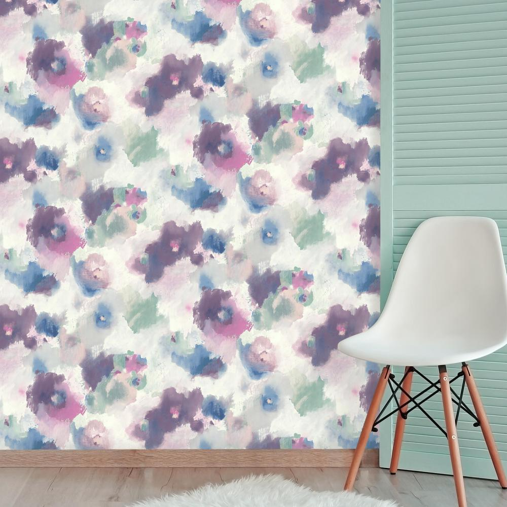 Watercolor Floral Peel Stick Wallpaper In Pink And Blue By