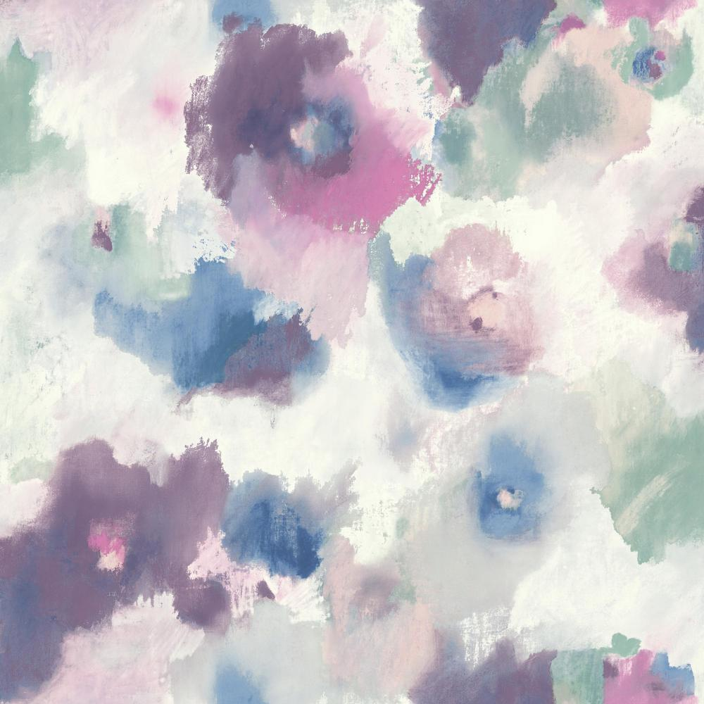 Watercolor Floral Peel Stick Wallpaper In Pink And Blue By Roommates Burke Decor