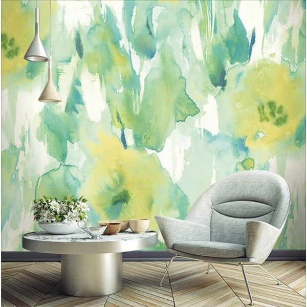 Watercolor Floral Wall Mural In Greens And Yellow Gold