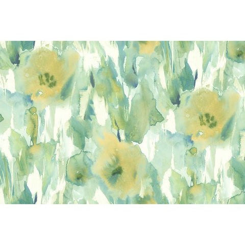 Watercolor Floral Wall Mural in Greens and Yellow-Gold from the L'Atelier de Paris collection by Seabrook