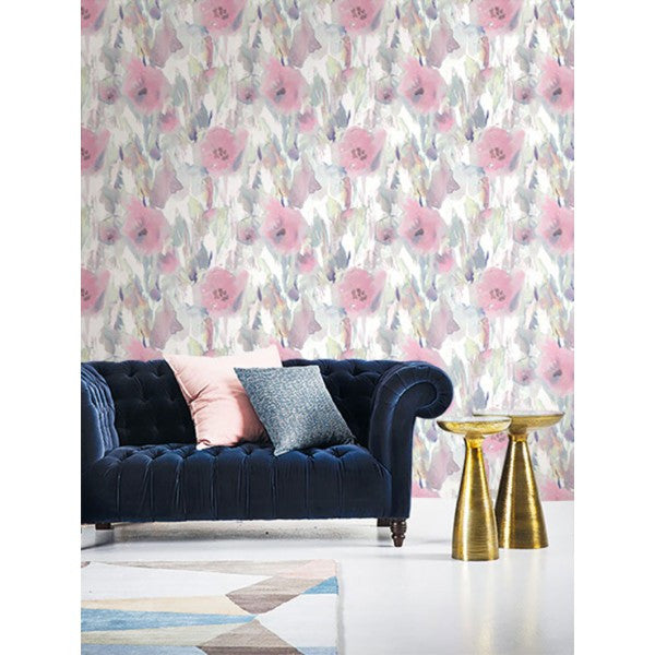 Watercolor Floral Wallpaper from the L'Atelier de Paris collection by Seabrook