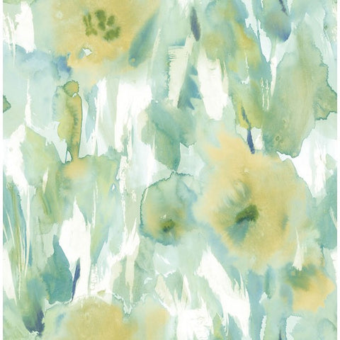 Watercolor Floral Wallpaper in Greens and Yellow-Gold from the L'Atelier de Paris collection by Seabrook