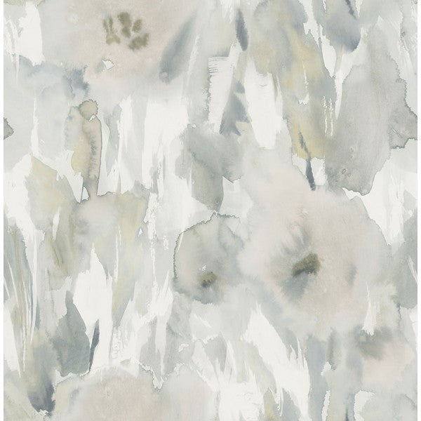 Watercolor Floral Wallpaper In Greys And Neutrals From The L