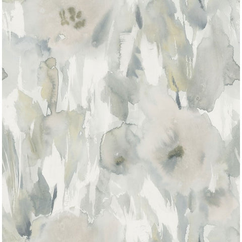 Watercolor Floral Wallpaper in Greys and Neutrals from the L'Atelier de Paris collection by Seabrook