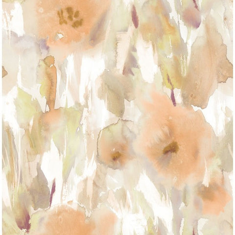 Watercolor Floral Wallpaper in Pale Orange, Gold, and Neutrals from the L'Atelier de Paris collection by Seabrook