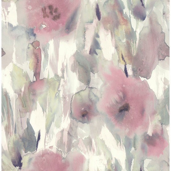 Watercolor Floral Wallpaper in Pink and Neutrals from the L'Atelier de Paris collection by Seabrook