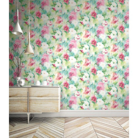 Watercolor Flowers Wallpaper from the L'Atelier de Paris collection by Seabrook