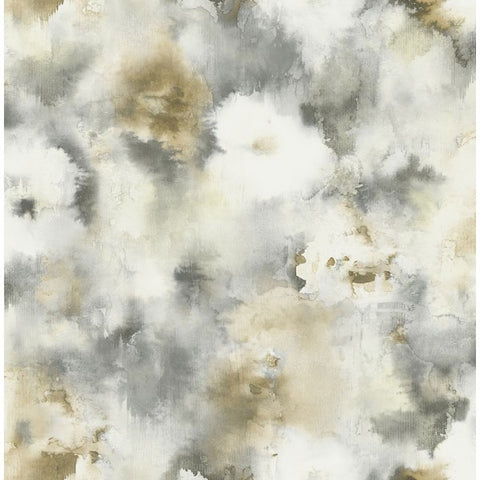 Watercolor Flowers Wallpaper in Browns and Greys from the L'Atelier de Paris collection by Seabrook