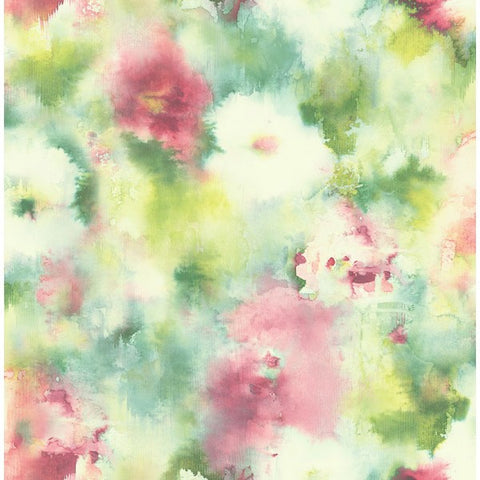 Watercolor Flowers Wallpaper in Greens and Pink from the L'Atelier de Paris collection by Seabrook