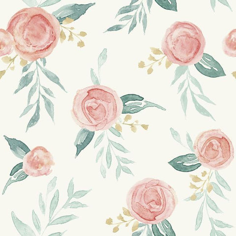 Watercolor Roses Peel & Stick Wallpaper in Red Coral by Joanna Gaines for York Wallcoverings