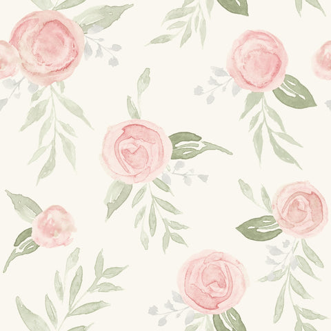Watercolor Roses Wallpaper in Coral from the Magnolia Home Vol. 3 Collection by Joanna Gaines