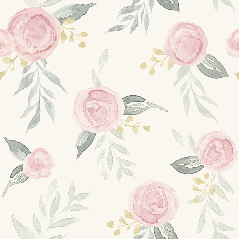 Watercolor Roses Wallpaper in Pink from the Magnolia Home Vol. 3 Collection by Joanna Gaines