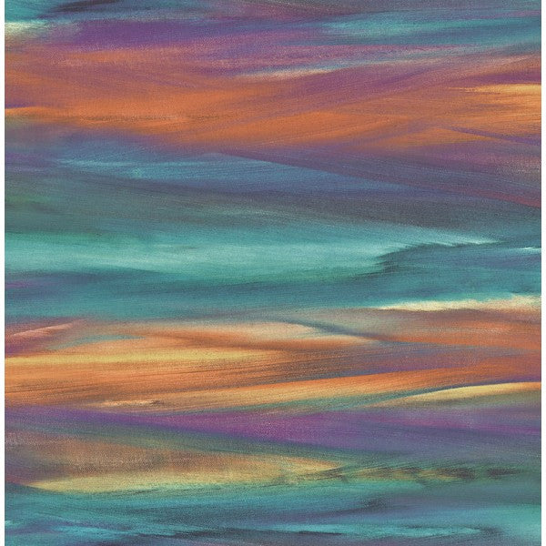 Sample Watercolor Strokes Wallpaper In Blues Oranges And