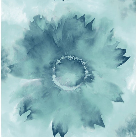 Watercolor Sunflower Wallpaper in Blues from the L'Atelier de Paris collection by Seabrook