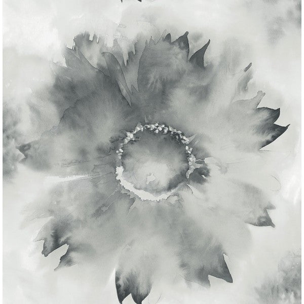 Watercolor Sunflower Wallpaper in Grey and Black from the L'Atelier de Paris collection by Seabrook