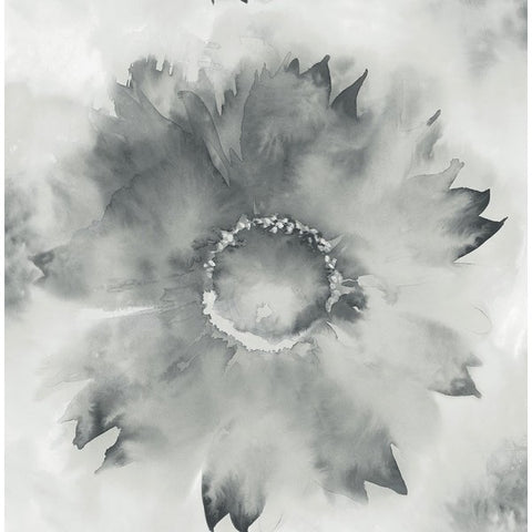Sample Watercolor Sunflower Wallpaper in Grey and Black from the L'Atelier de Paris collection by Seabrook