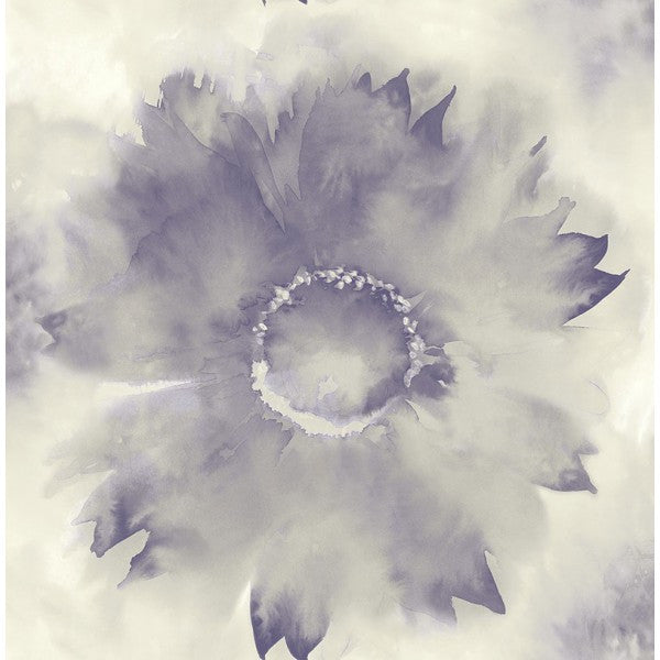 Sample Watercolor Sunflower Wallpaper in Purples from the L'Atelier de Paris collection by Seabrook