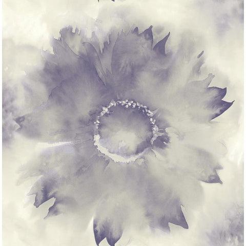 Watercolor Sunflower Wallpaper in Purples from the L'Atelier de Paris collection by Seabrook
