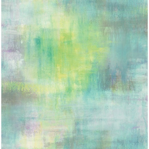Watercolor Tonal Wallpaper in Aqua, Greens, and Purples from the L'Atelier de Paris collection by Seabrook