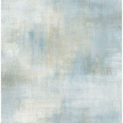Watercolor Tonal Wallpaper in Blue and Grey from the L'Atelier de Paris collection by Seabrook